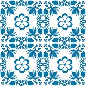 Blue Seamless Lace Lacy Pattern On White