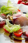 stock photo of swordfish  - swordfish carpaccio with sliced tomatoes - JPG