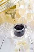 caviar on cristal bowl and champagne