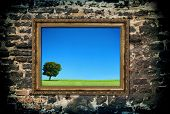 Golden Wooden Frame With Beautiful Landscape
