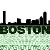 Boston skyline reflected with binary foreground vector illustration
