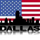 Dallas skyline and text reflected with flag vector illustration