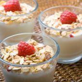 Three Glasses Of Deliciously Fresh Yogurt And Muesli