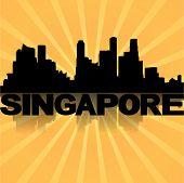 Singapore skyline reflected with sunburst illustration