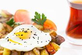 Sunny Side Up Fried Egg And Vegetables