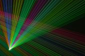 stock photo of fantail  - Color laser beams fantail in a haze
