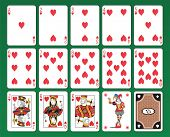Set of playing cards of Hearts on green background. The figures are original design as well as the j