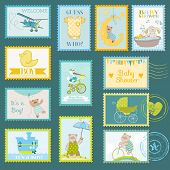 Baby Shower or Arrival Postage Stamps - for design and scrapbook - in vector
