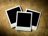 Polaroid Film Vintage empty photo cards on paper background