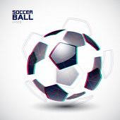 Vector illustration of a fragmented soccer ball