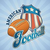 American football label with a star striped shield and a leather ball. Editable vector illustration.