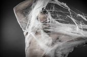Trap.man tangled in huge white spider web