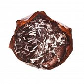 Chocolate Cupcake Muffin top view surface close up  isolated over white background