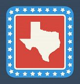 image of texas state flag  - Texas state button on American flag in flat web design style - JPG