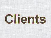 Business concept: Clients on fabric texture background