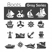 image of viking ship  - Boats Icons Gray series - JPG