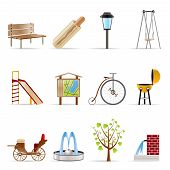 Park objects and signs icons