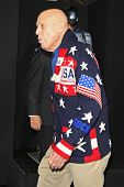 LOS ANGELES - FEB 10: A man is seen wearing a Ralph Lauren Team USA Olympic Uniform Sweater at the p