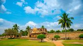 stock photo of trichy  - view of the ancient Gangaikonda Cholapuram Temple dedicated to Shiva Thanjavur  - JPG