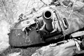 Wrecked northern Sudanese tank in South Sudan, focus on barrel
