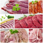 stock photo of raw chicken sausage  - a collage with some pictures of different raw meat and sausages - JPG