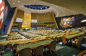 NEW YORK CITY, USA - MAY 21, 2012: The United Nations General Assembly Hall. It is the only organ of