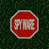 Stop spyware sign on hex code illustration