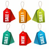 Set Of Colorrful Sale Tags. Concept Of Discount Shopping. Vector Illustration