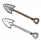 cartoon illustration of a shovel