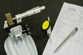 picture of micrometer  - Calibration Micrometer In Laboratory Center Of Manufacturing Factory - JPG