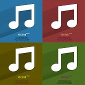 Color set Music note. Flat modern web button with long shadow and space for your text.