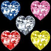 5 Diamond Hearts