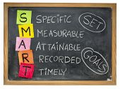 set goals SMART (specific, measurable, attainable, recorded, timely) colorful sticky notes and chalk