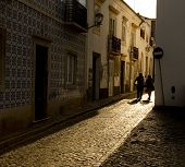 Antique Tiled Street In Portugal.