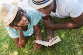 Happy young couple reading book on the grass on a sunny day