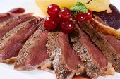 pic of duck breast  - Duck breast in wine sauce close up - JPG