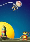stock photo of outerspace  - Illustration of an astronaut and a robot in the outerspace - JPG