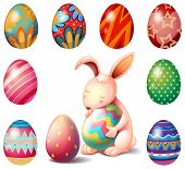 Illustration of a bunny surrounded with Easter eggs on a white background