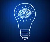 Conceptual image of light bulb and human brain