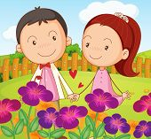 Illustration of a sweet couple at the garden in the hilltop