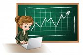 Illustration of a busy lady using the laptop in front of the blackboard on a white background