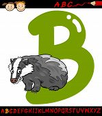 picture of badger  - Cartoon Illustration of Capital Letter B from Alphabet with Badger Animal for Children Education - JPG