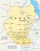 stock photo of sudan  - Political map of Sudan and South Sudan with capitals Khartoum and Juba - JPG