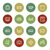 Home Appliance web icons, vintage color