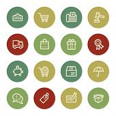 Shopping web icons, vintage color
