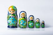 Green Matryoshka Isolated On White