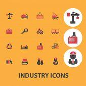 industry icons, signs, objects set, vector