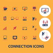 connection icons, signs, objects set, vector