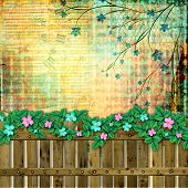Abstract Beautiful Background In The Style Of Mixed Media With Floral Ornament