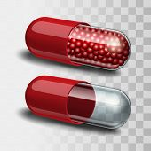 Red and transparent pills.
